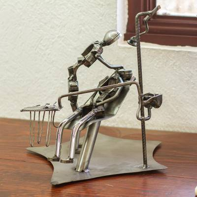Recycled auto parts sculpture, 'Rustic Periodontist' - Artisan Crafted Periodontist Metal Sculpture