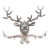 Recycled auto parts key rack, 'Rustic Deer Mount' - Hand Crafted Recycled Metal Deer Head Key Rack