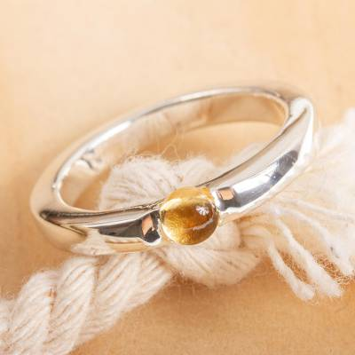 Citrine solitaire ring, 'Vantage Point' - Contemporary Citrine Solitaire Ring
