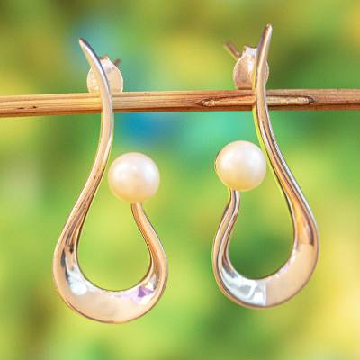 Cultured pearl drop earrings, 'Scoop' - Modern Cultured Pearl Drop Earrings