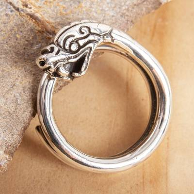 Sterling silver band ring, 'Serpent of Precious Feathers' - Serpent Deity Sterling Silver Ring