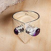 Amethyst cocktail ring, 'Modern Synergy' - Wide Amethyst Cocktail Ring