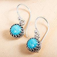 Turquoise dangle earrings, 'Taxco Treasure' - 950 Silver and Turquoise Earrings
