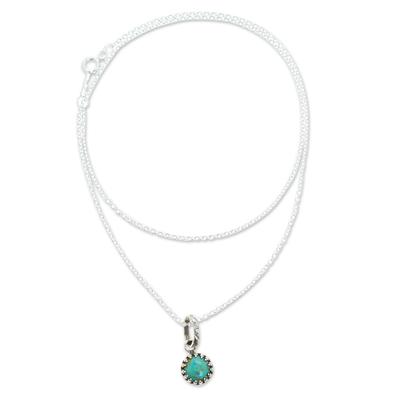 Turquoise pendant necklace, 'Taxco Treasure' - Natural Turquoise Pendant Necklace