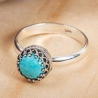 Turquoise single-stone ring, 'Taxco Treasure' - Natural Turquoise Single-Stone Ring