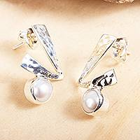 Cultured pearl drop earrings, 'Check' - Drop Earrings with White Cultured Pearls