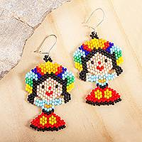 Glass beaded dangle earrings, 'Colorful Maria Doll'