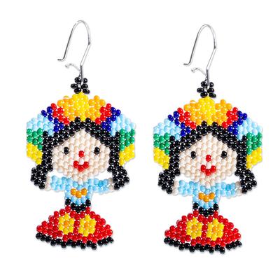 Glass beaded dangle earrings, 'Colorful Maria Doll' - Colorful Beaded Mexican Otomi Maria Doll Earrings