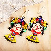 Glass beaded dangle earrings, 'Floral Maria Doll' - Handcrafted Beaded Mexican Otomi Maria Doll Earrings