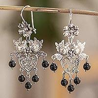 Sterling silver filigree chandelier earrings, 'Dove Romance in Black' - Black Crystal Chandelier Earrings