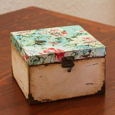 Decoupage wood jewelry box, 'Vintage Blossoms' - Floral Decoupaged Wood Jewelry Box