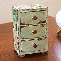 Decoupage wood jewelry chest, 'Personal Treasures' - Small Floral Jewelry Chest