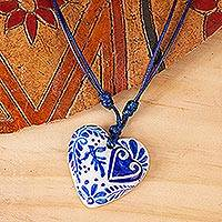 Papier mache heart necklace, 'Talavera Swallow' - Blue & White Talavera Theme Papier Mache Heart Necklace
