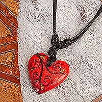 Papier mache pendant necklace, 'Heart Filled with Passion' - Artisan Handcrafted Red Papier Mache Heart Necklace