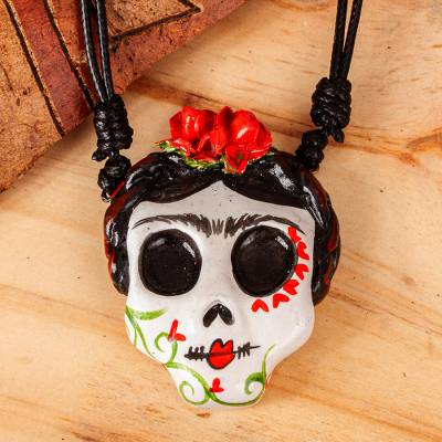 Hand painted pendant necklace, 'Beautiful Catrina' - Adjustable Skull Pendant Necklace