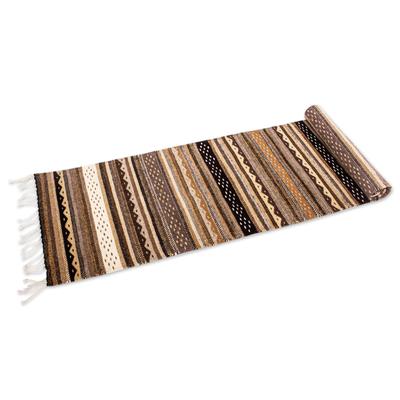 Zapotec wool runner, 'Oaxaca Winter' (2x7) - Earth Tone Geometric Zapotec Runner Rug (2 x 7 Ft)