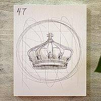 'White Lottery: The Crown' - Loteria Crown Drawing on Wood Board