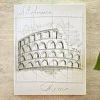 'Monuments of the World: Rome' - Acrylic and Pencil Artwork of Roman Colosseum