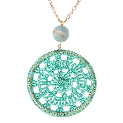 Aqua Crocheted Pendant Necklace with Amazonite