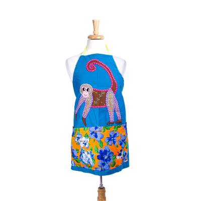 Cotton applique apron, 'Monkey Hijinks' - Multicolored Monkey Applique Apron