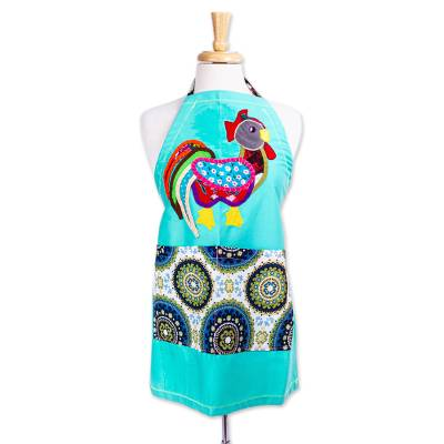 Cotton applique apron, 'Colorful Rooster' - Rooster Motif Cotton Applique Apron