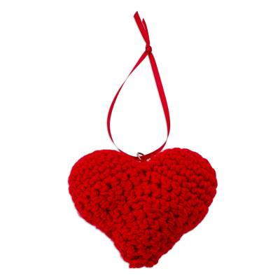 Bright Red Crocheted Heart Ornament