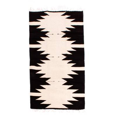 Zapotec wool rug, 'Maguey' (2.5 X 5) - Zapotec Black and White Area Rug from Mexico (2.5 X 5)