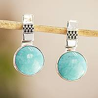 Turquoise drop earrings, 'Eastern Skies' - 950 Silver And Turquoise Drop Earrings From Mexico