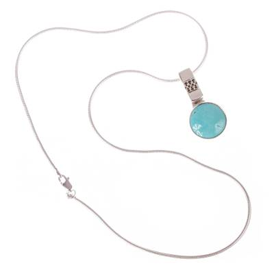 Turquoise pendant necklace, 'Eastern Skies' - 950 Silver Turquoise Pendant Necklace From Mexico