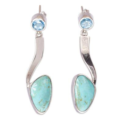 Turquoise and blue topaz drop earrings, 'Western Skies' - Turquoise and Blue Topaz Silver Drop Earrings from Mexico