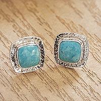 Turquoise stud earrings, 'Zocalo' - Natural Turquoise Stud Earrings