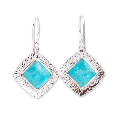Turquoise dangle earrings, 'Zocalo' - Dangle Earrings with Natural Turquoise