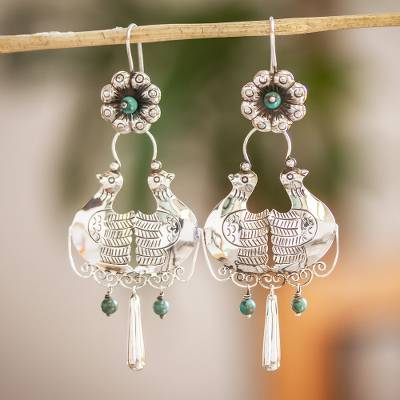 Turquoise chandelier earrings, 'Palomitas' - 925 Sterling Silver And Turquoise Earrings From Mexico