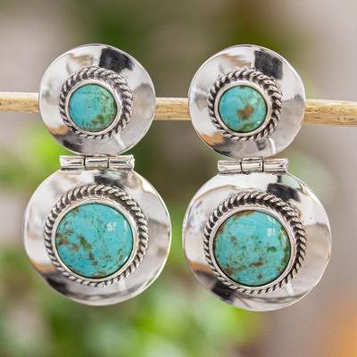 Turquoise drop earrings, 'Taxco Rose' - Taxco Sterling Silver Turquoise Drop Earrings From Mexico