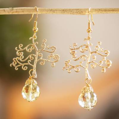 Gold-plated citrine dangle earrings, 'Life Tree' - Gold-plated Filigree Citrine Dangle Earrings From Mexico
