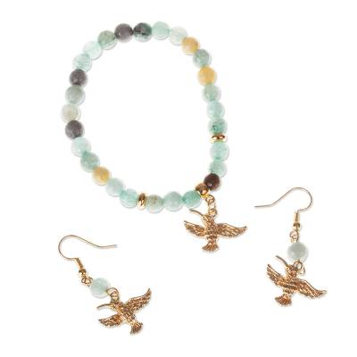 Gold-plated Agate Bracelet and Earring Set from Mexico