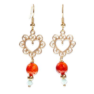 Crystal and Carnelian Gold Plated Earrings
