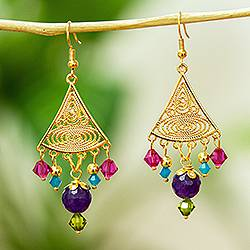 Gold-plated filigree dangle earrings, 'Gem Rain' - Gold-plated Agate And Swarovski Dangle Earrings From Mexico