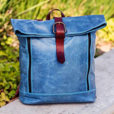 Leather backpack, 'Azure Realm' - Blue Leather Backpack from Mexico