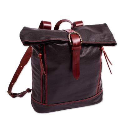 Unisex Black Leather Backpack