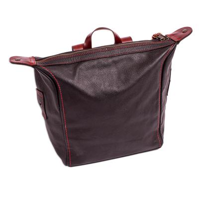Multi-Pocket Black Leather Backpack