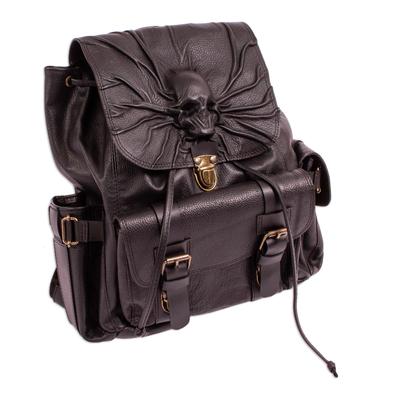 Skull Motif Black Leather Backpack