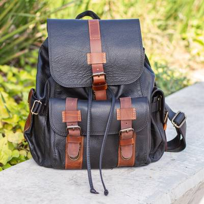 Leather backpack, 'Practical Traveler' - Unisex Black and Brown Leather Backpack