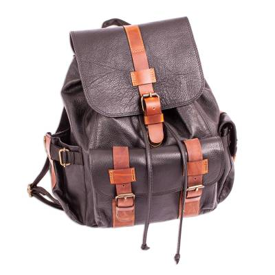 Unisex Black and Brown Leather Backpack