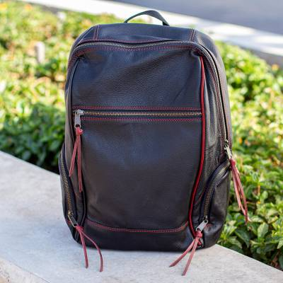 Leather backpack, Contrast