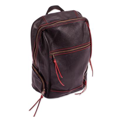 Handmade Black Leather Backpack