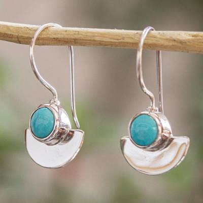 Turquoise drop earrings, 'Sweet Equilibrium' - Taxco Sterling Silver and Natural Turquoise Drop Earrings