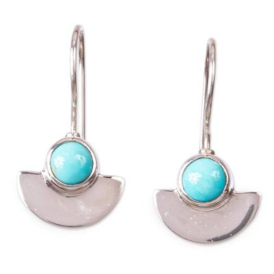 Taxco Sterling Silver and Natural Turquoise Drop Earrings