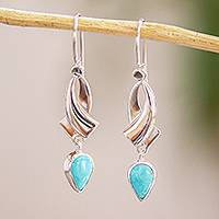 Turquoise dangle earrings, 'Ribbon Swirls' - Taxco Sterling Silver Earrings with Natural Turquoise