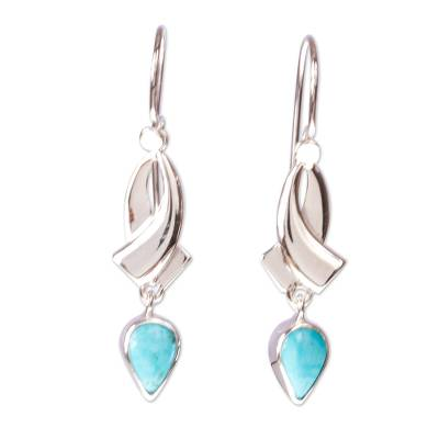 Taxco Sterling Silver Earrings with Natural Turquoise